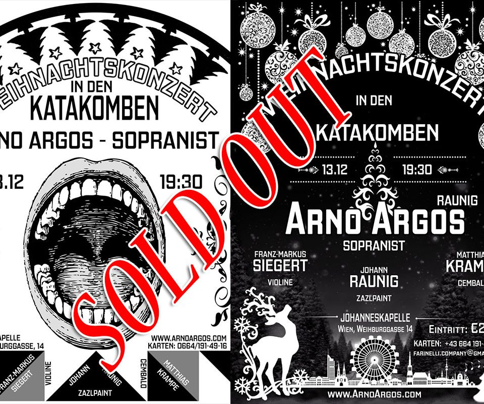 Weihnachtskonzert in den Katakomben mit Arno Argos Sold out