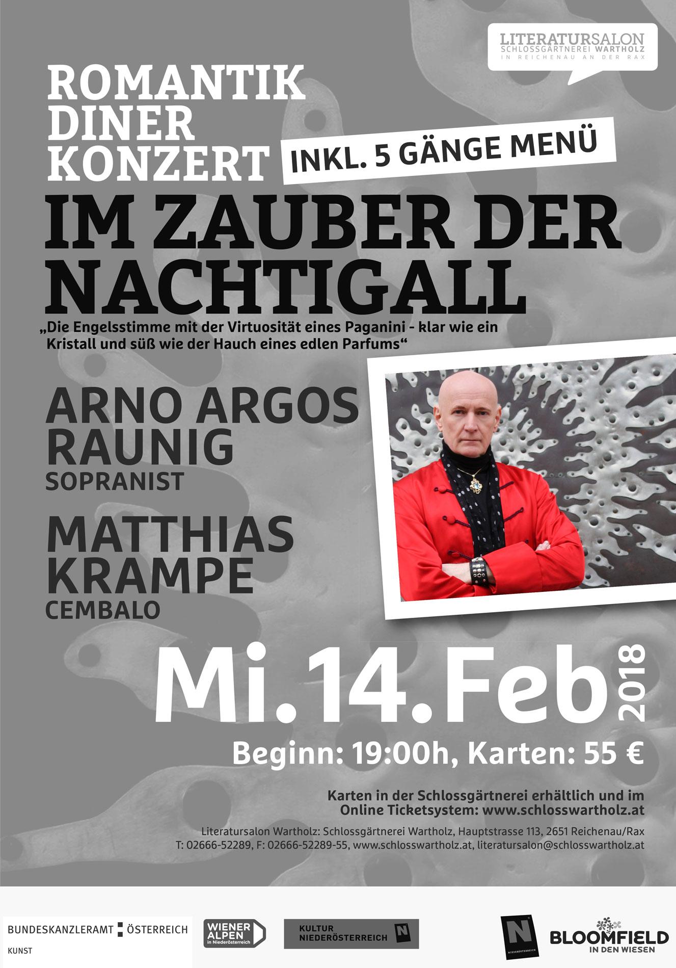 Im Zauber der Nachtigall. Ein Romantik-Diner-Konzert am Valentinstag Arno Argos