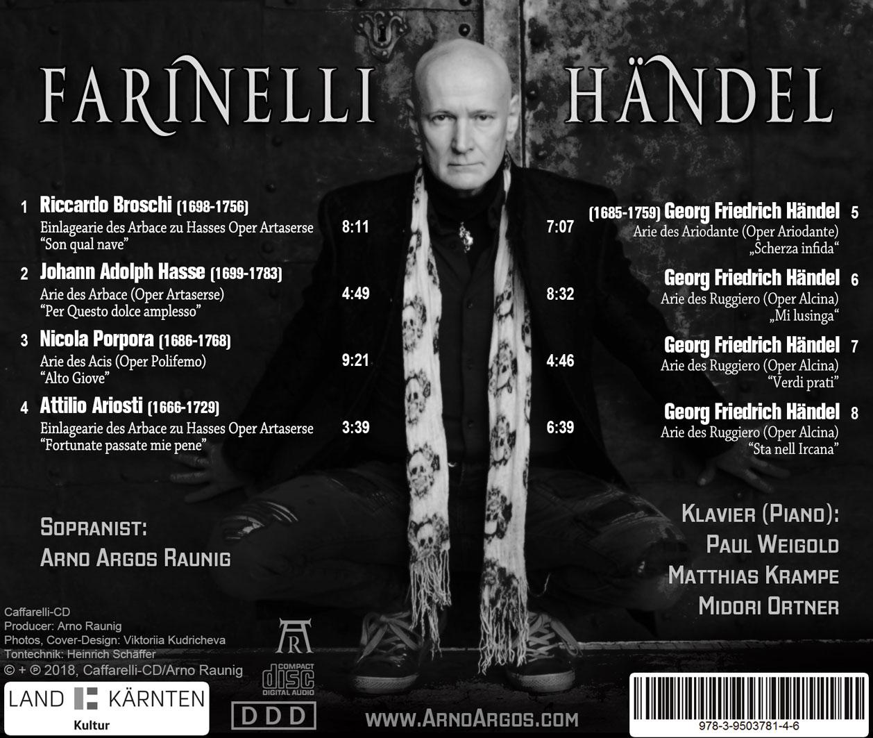 Album Farinelli vs Handel Sopranist Arno Argos Raunig