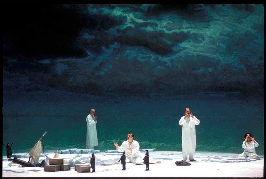 Helmut Oehring: UNSICHTBAR LAND. Claus Guth's world premiere production for Theater Basel (2006) with Arno Argos Raunig (sopranist). Photo: Sebastian Hoppe