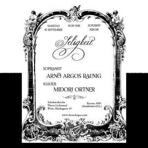 Seligkeit Konzert in Wien mit Arno Argos. Schubertkirche