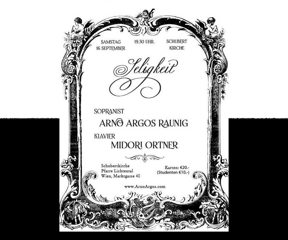 Seligkeit Konzert in Wien mit Arno Argos Schubertkirche