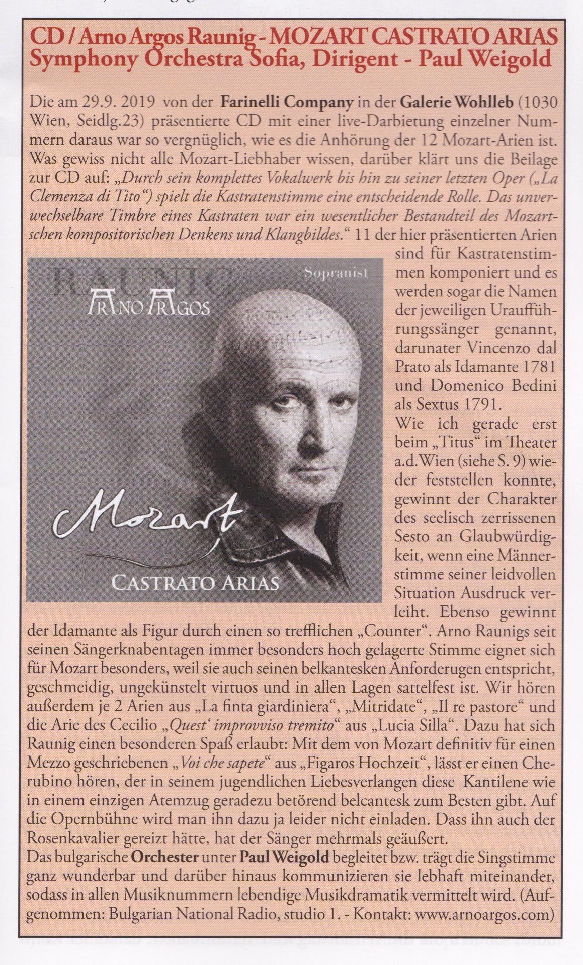 Kritik «der neue Merker» 11/2019: CD / Arno Argos Raunig - MOZART CASTRATO ARIAS Symphony Orchestra Sofia, Dirigent - Paul Weigold